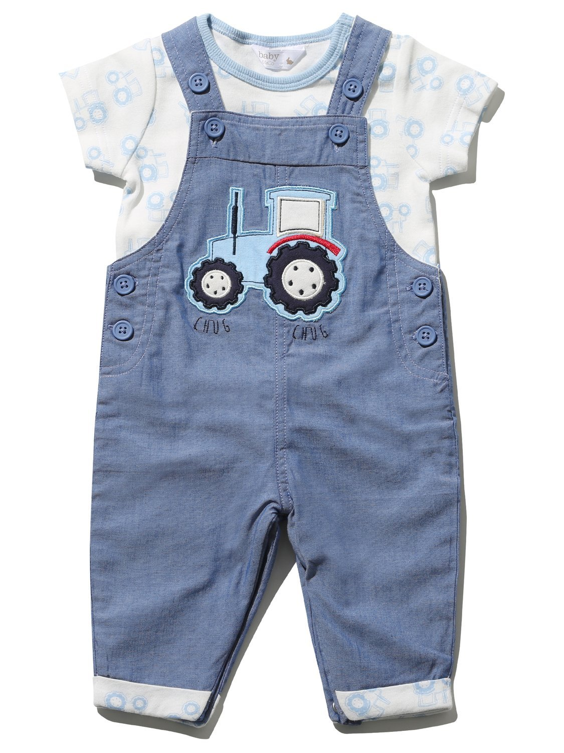 M&Co Baby Boy Blue Chambray Tractor Applique Dungarees Short Sleeve Print T-Shirt Set