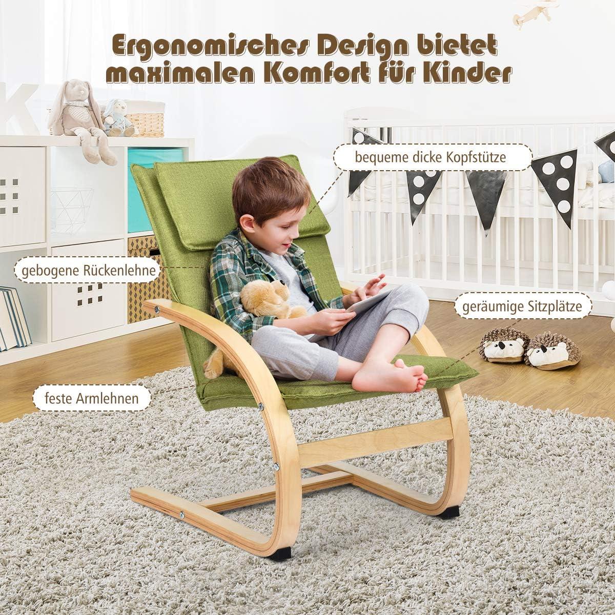 COSTWAY Kindersessel Birke Kinder Schwingsessel Schaukelstuhl Schaukelsessel Kinderstuhl Holz Relaxsessel Kinderm/öbel belastbar bis 120kg