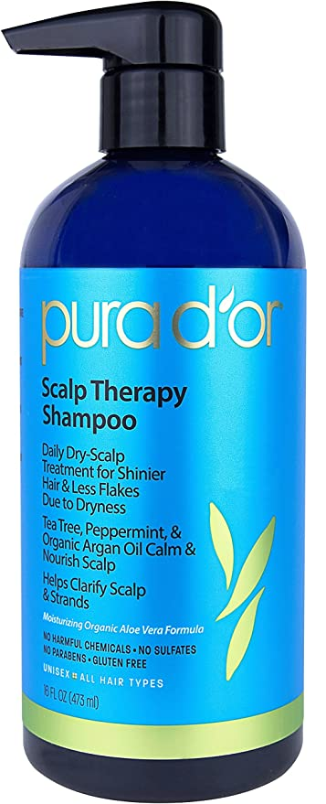 PURA DOR Scalp and Dandruff Therapy Shampoo with Argan Oil and Tree Tea,