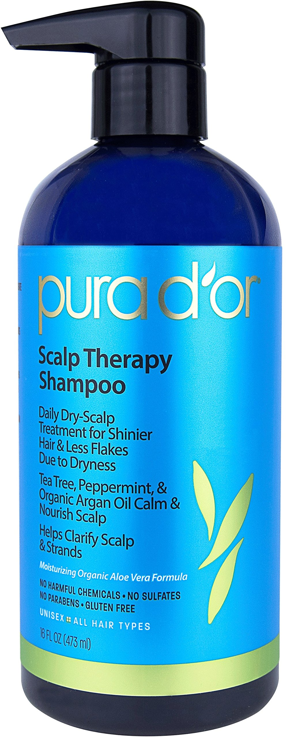 PURA D'OR Scalp Therapy Shampoo for Dandruff, Itching & Flaking Relief, Infused with Organic Argan Oil & Tree Tea Oil, Color Safe, Sulfate Free Treatment for All Hair Types, Men and Women, 16 Fl Oz