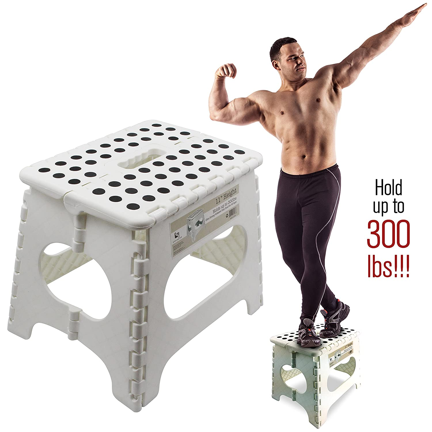 Super Strong Folding Step Stool - 11  Height - Holds up to 300 Lb - The lightweight foldable step stool is sturdy enough to support adults u0026 safe enough for ...  sc 1 st  Amazon.com & Folding Stools | Amazon.com islam-shia.org