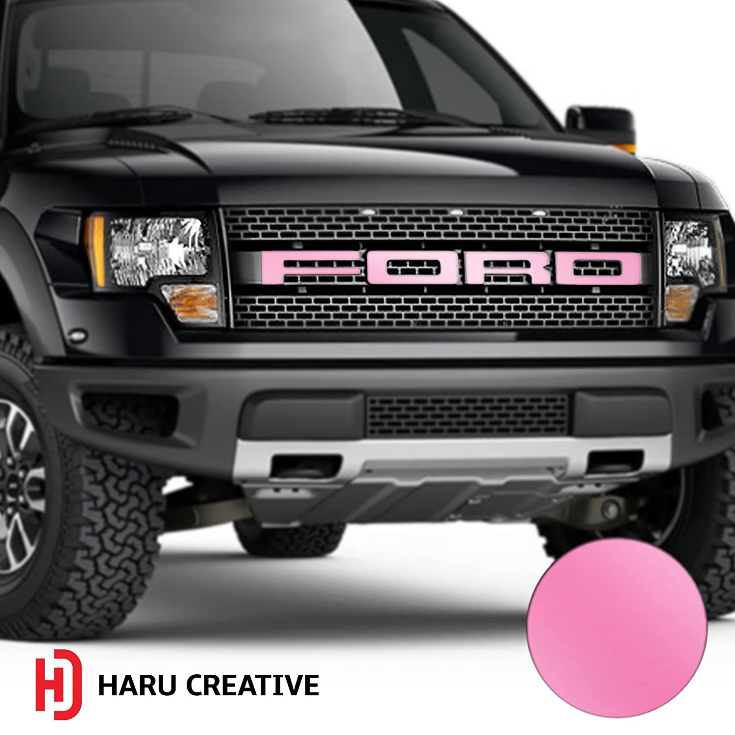 Haru Creative 2010 2011 2012 2013 2014 Hood Grille Emblem Letter Overlay Vinyl Decal Sticker Compatible Fits Ford F150 F-150 Raptor - Matte White Loyo