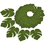 60-Pack Tropical Palm Leaf - Summer Luau Party Decorations, Wedding Tropical Themed Decor, Safari Plant Leaves, Green - 6.7 x 8 Inches