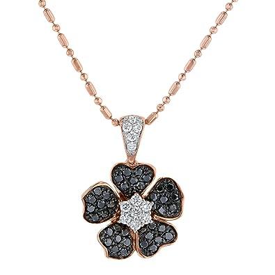 Amazon olivia paris 14k rose gold black and white diamond olivia paris 14k rose gold black and white diamond flower pendant necklace 04 cttw aloadofball Gallery