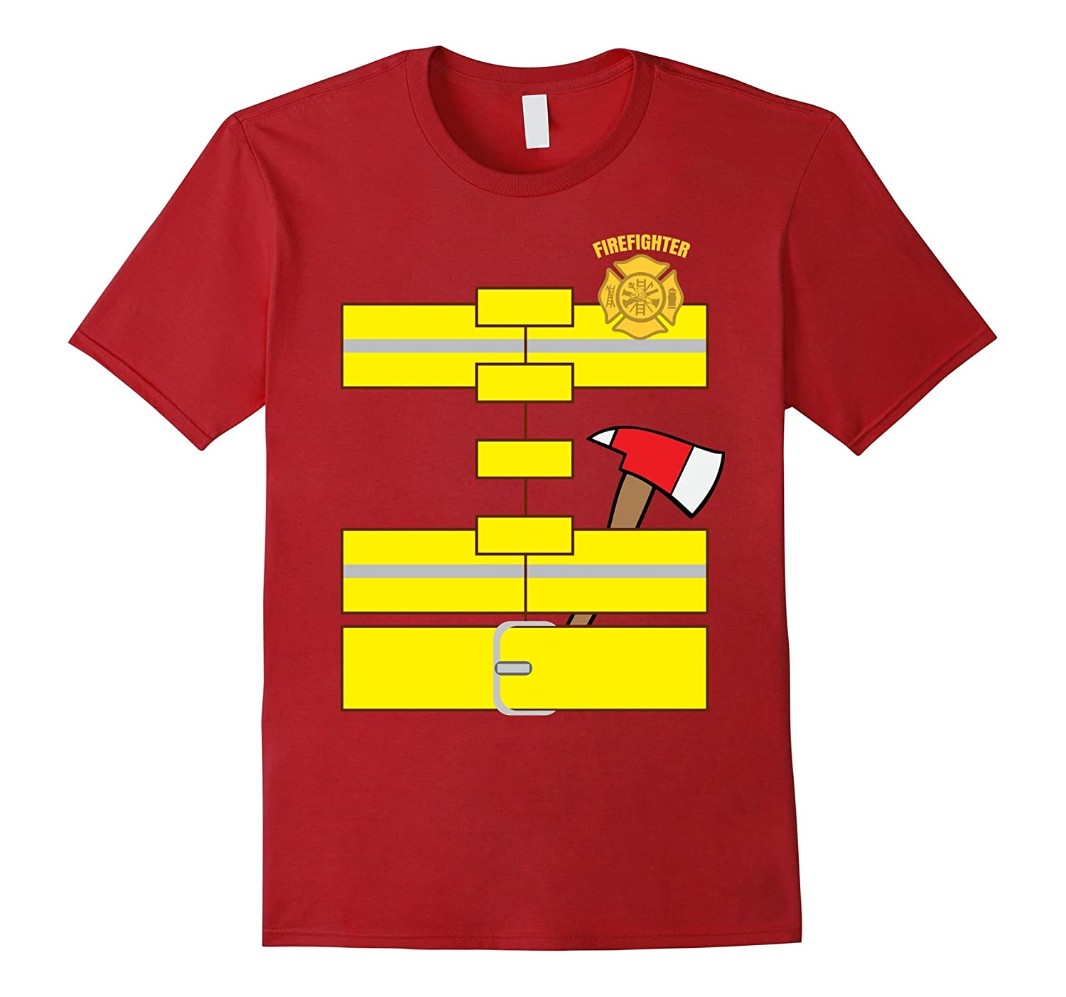 Easy Firefighter Costume Funny Adult halloween Costume-T-Shirt