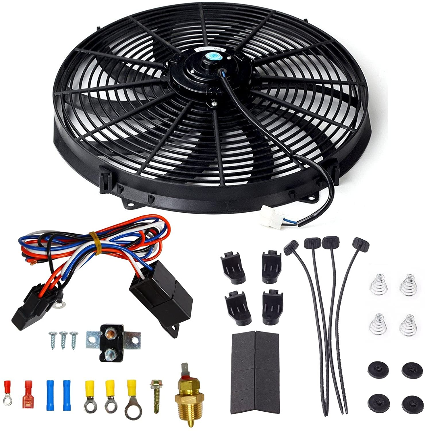 yjracing 16 Inch Electric Radiator Cooling Fan Mounting Kit & 175-185 Degree Thermostat Relay Switch Kit Black
