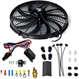 10 Inch Electric Radiator Cooling Fan Mounting Kit & 175-185 Degree Thermostat Relay Switch Kit Black