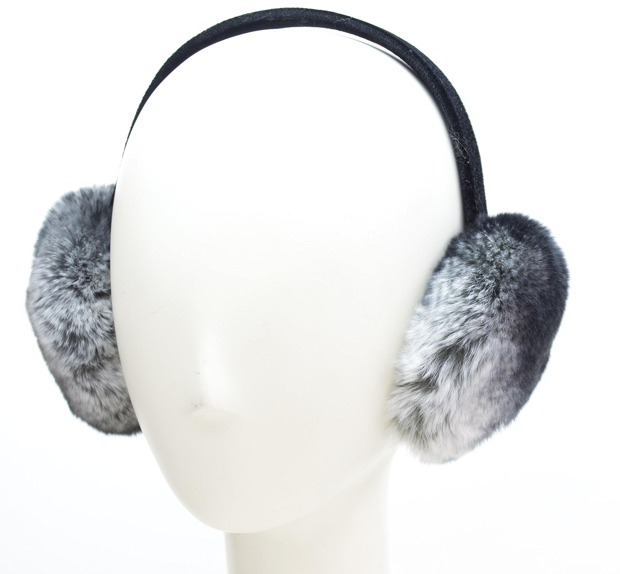 Rex Rabbit Fur Earmuffs on Velvet Band (Chinchilla)