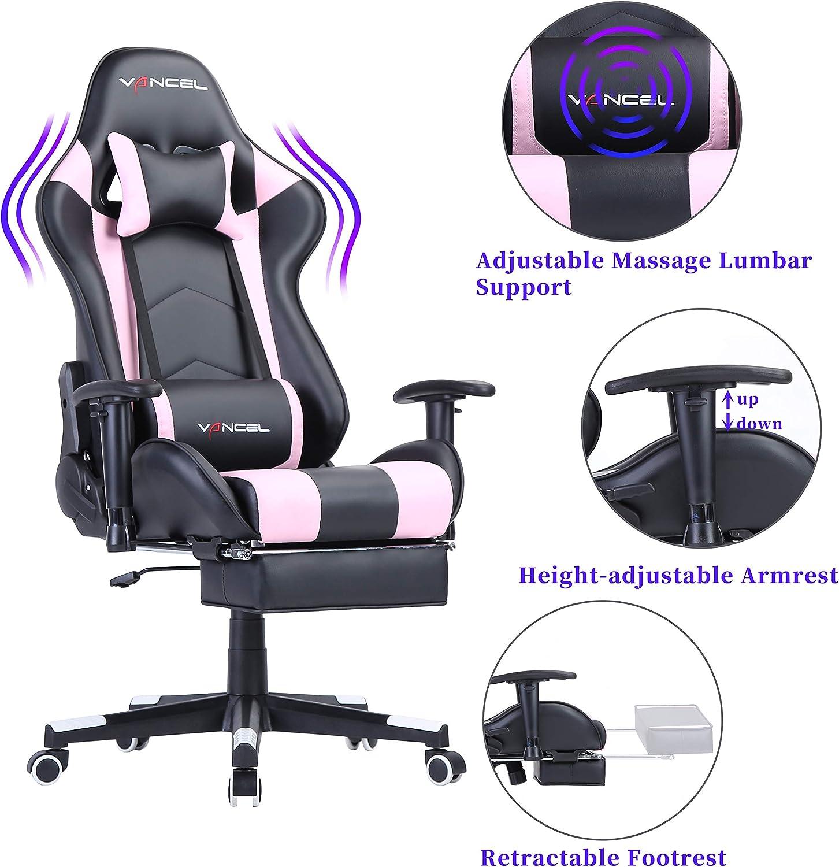 Camuffamento EAVANCEL Gaming Sedia da Gioco Scrivania Ufficio Computer Sedie da Girevole Ergonomico Massaggio Schienale Regolabile in Pelle PU