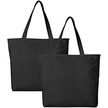 8af3bbe4fc9 Pack of 2 Heavy Duty Canvas Tote Bags with Zipper Top and Zipper Inside  Pockets