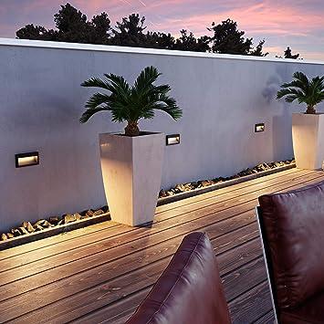 DEL Mur-encastré Nola pour extérieur 90x90mm blanc 3000k blanc chaud 3 W = 21 W,