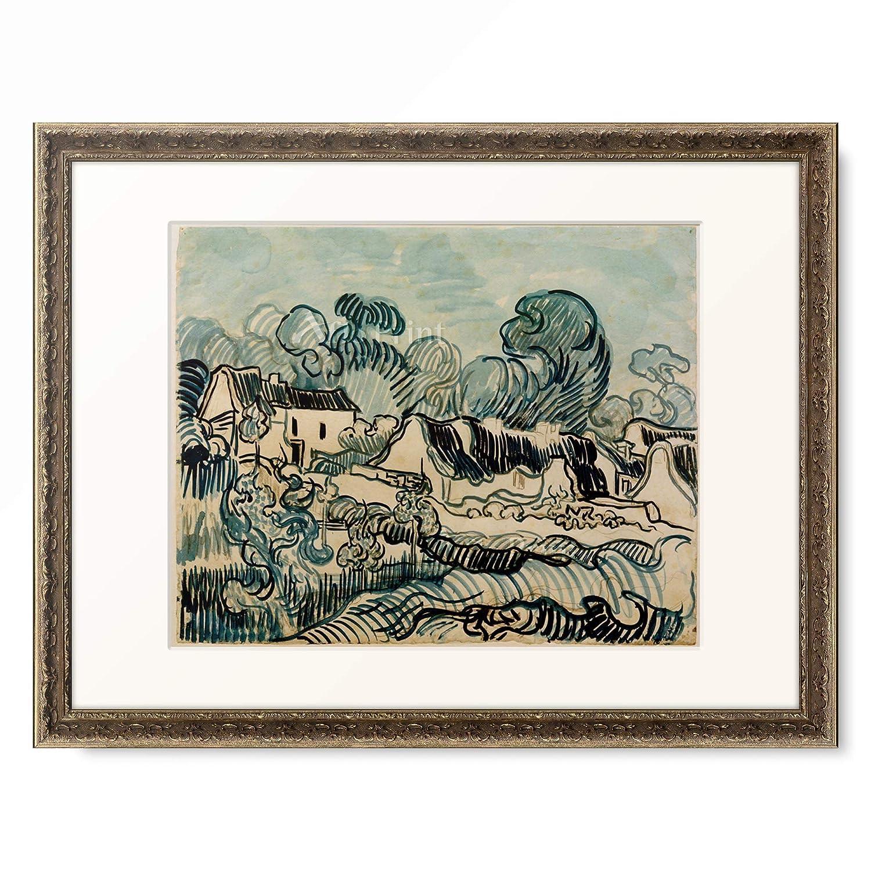 フィンセントファンゴッホ Vincent Willem van Gogh 「Landscape with Cottages」 額装アート作品 B07PF8DFS5 09.装飾額 19mm(黒金) S(額内寸 255mm×203mm) S(額内寸 255mm×203mm)|09.装飾額 19mm(黒金)