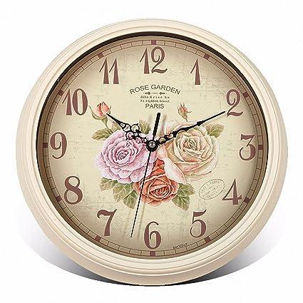 Ronda 33cm diámetro Europea retro reloj pared tranquila relojes,Modelo 1