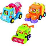 Friction Toys For Toddlers TG641 (Set Of 3) Friction Powered Push & Go Cement Mixer Truck / Street Sweeper / Harvester Truck With Functions - Friction Car Toys By ThinkGizmos (Trademark Protected)