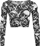 WearAll New Womens Skull Roses Print Long Sleeve Short Stretch Ladies Crop Top UK 8-14