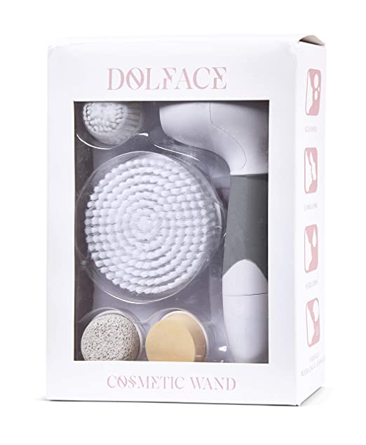 Facial Cleansing Brush Spin Set by DOLFACE - Soft Electric Scrubber Brushes Gently Exfoliate Pores for Acne and Makeup Removal - Face and Body Exfoliating - Completely Waterproof Includes Pumice Stone