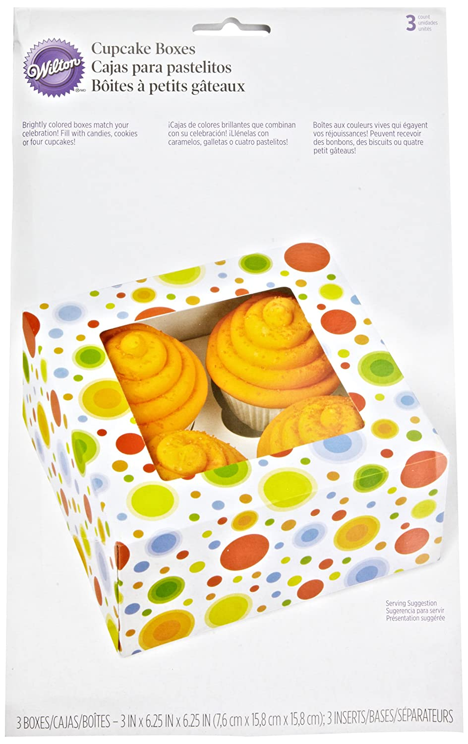 Amazon.com: Wilton 415-0735 3/Pack 4-Cavity Circles Cupcake Box: Scrapbooking Supplies: Kitchen & Dining