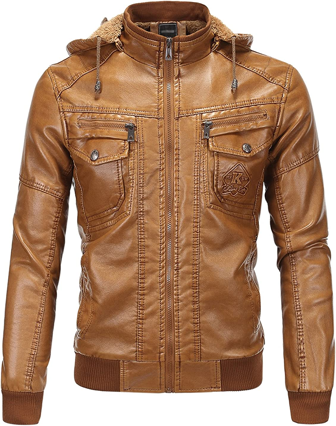 Gihuo Mens Vintage Fleece Lined Faux Leather Jacket with Removable Fur Hood