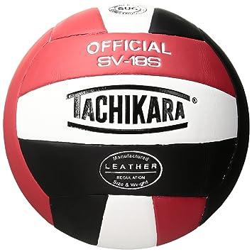 Tachikara SV18S - Pelota de Voleibol (Piel), Color Rojo, Blanco y ...