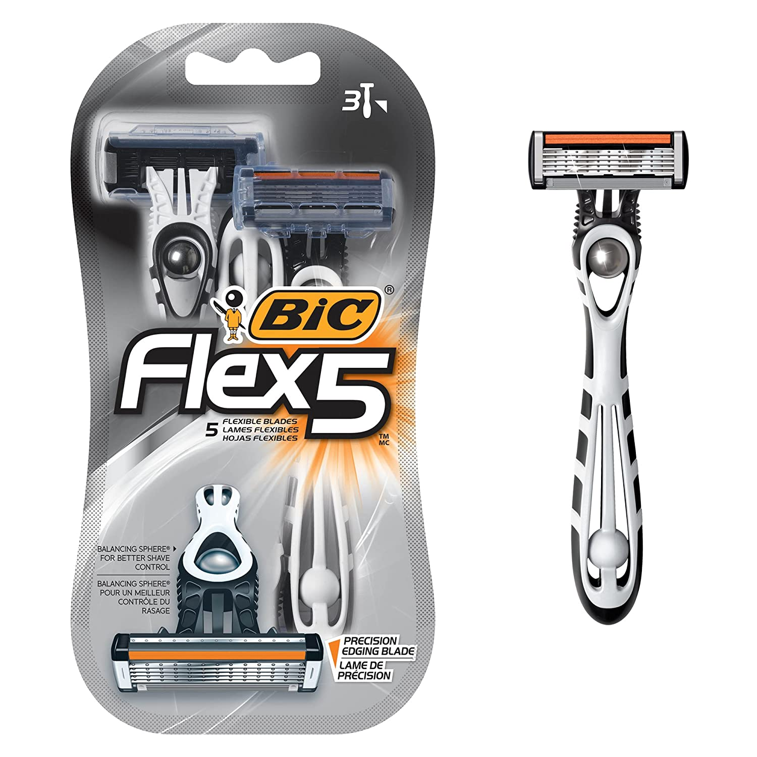 BIC Flex 5 Disposable Razor, Men, 3-Count BIC Razors