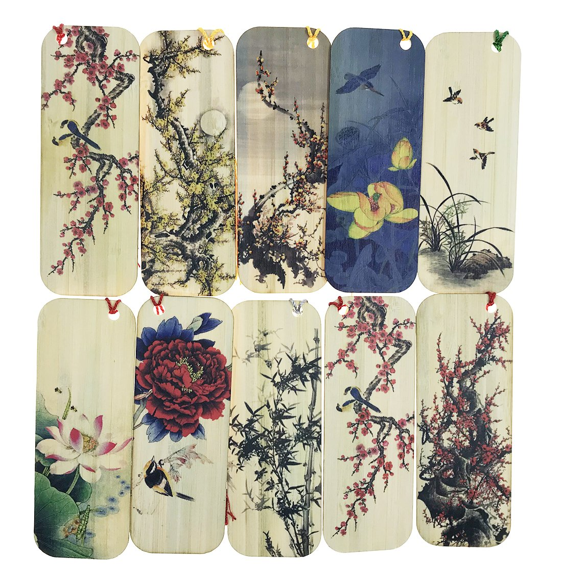 10 PCS Flower and Bird Themed Bamboo Chinese Style Bookmarks for Kids School Study Decoration Souvenirs Business Christmas Birthday GIF by Alrsodl (Image #1)