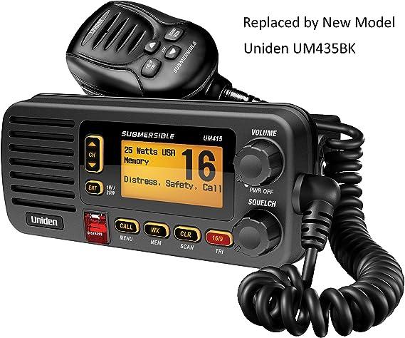 UNIDEN UM415 CLASS D FIXED MOUNT SUBMERSIBLE VHF MARINE RADIO WITH NOAA WEATH...