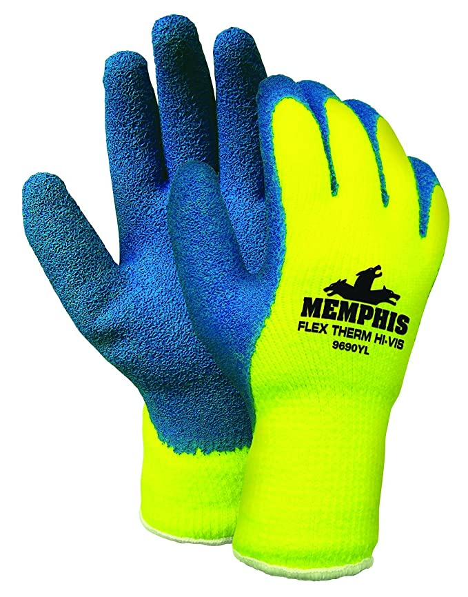 Memphis Glove 9690YM Flex-Therm Acrylic Shell Mens Gloves with Latex Dipped Palm and Fingertips, Blue/Yellow, Medium, 1-Pair