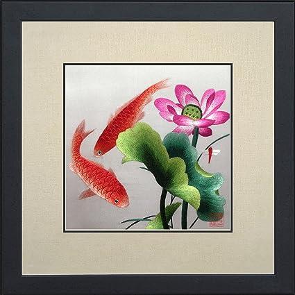 Amazon Com King Silk Art 100 Handmade Embroidery Framed Two