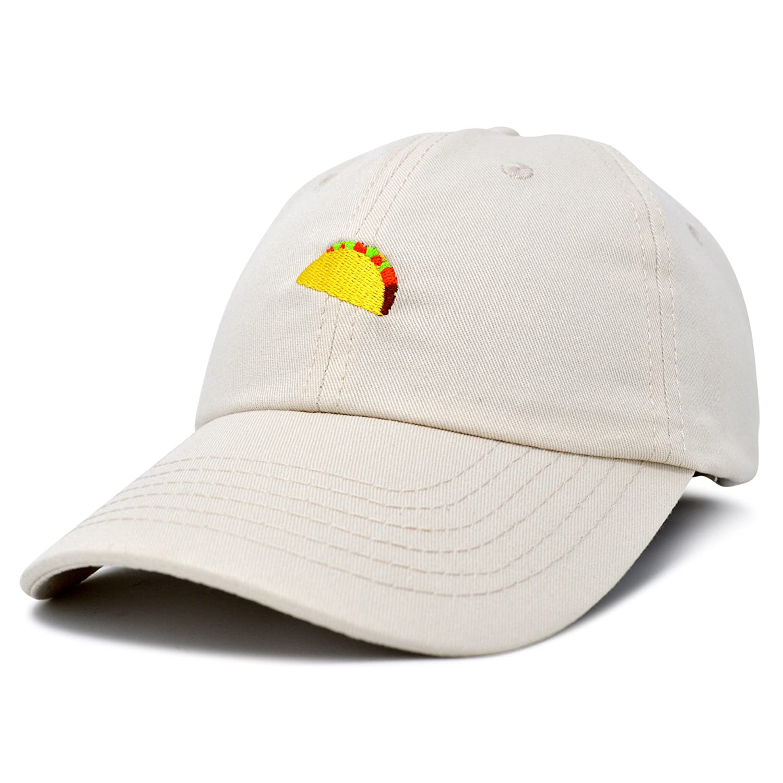 9eb80b676a0 Amazon.com  DALIX Taco Dad Hat Baseball Cap for Men Womens Emoji Caps  Beige  Clothing