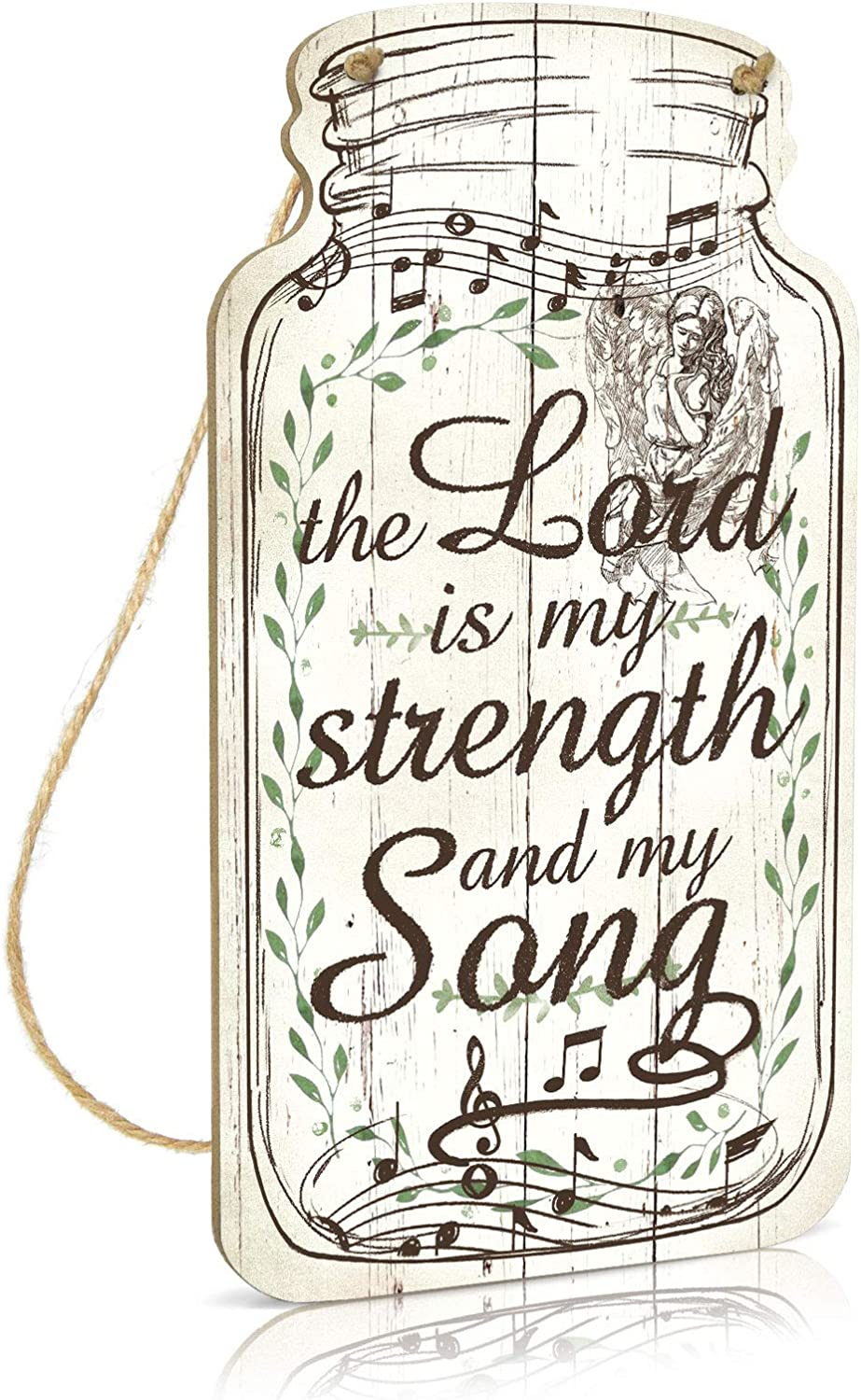 Putuo Decor God Mason Jar Sign, Farmhouse Decor, 8.3x4.5 Inches Rustic Wood Hanging Plaque for Home, Living Room, Kitchen, Bedroom - The Lord is My Strength and My Song