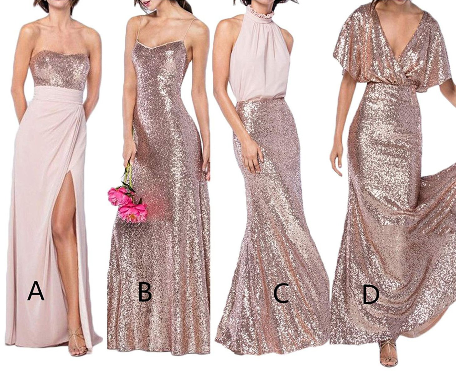 5cd79ca7a2a6 Sequin Bridesmaid Dresses Long Spaghetti Strap Mermaid Prom Evening Gown  2019 Rose Gold 12