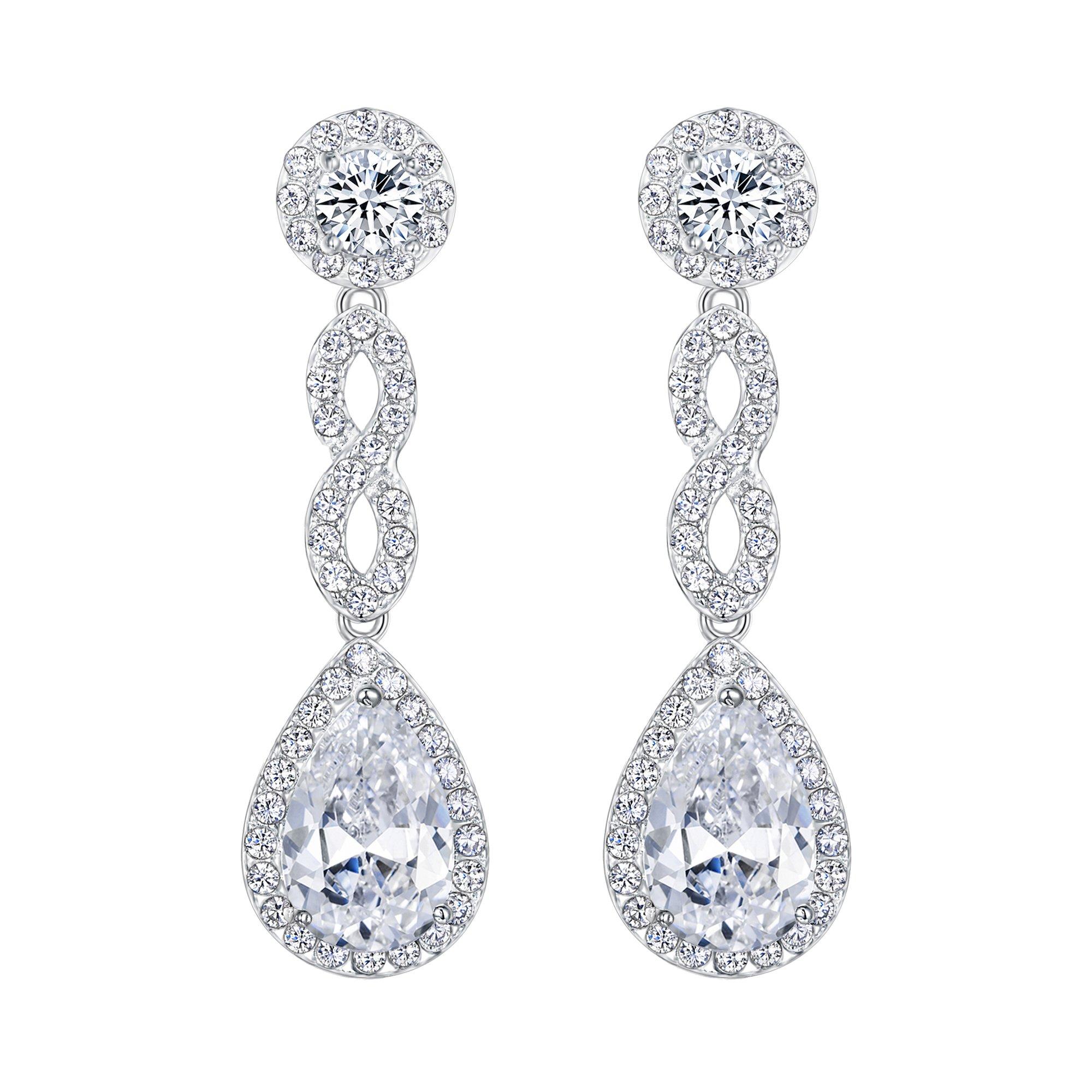 EVER FAITH Women's Cubic Zirconia 8 Shape Infinity Bridal Pierced Dangle Earrings Clear Silver-Tone