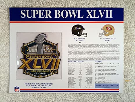 f8ace6399 Super Bowl XLVII (2013) - Official NFL Super Bowl Patch with complete  Statistics Card