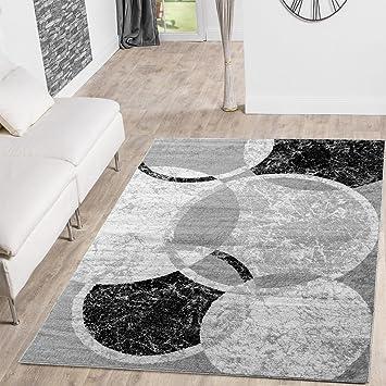 Teppich Günstig Kreis Design Modern Wohnzimmerteppich Grau Creme Schwarz  Meliert, Größe:160x220 Cm