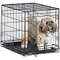 """New World 24"""" Folding Metal Dog Crate, Includes Leak-Proof Plastic Tray; Dog Crate Measures 24L x 18W x 19H Inches, For…"""