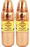 IndianArtVilla Thermos Design Copper Bottle, Travel Purpose Drinkware, Ayurveda, 700 ML, Set of 2