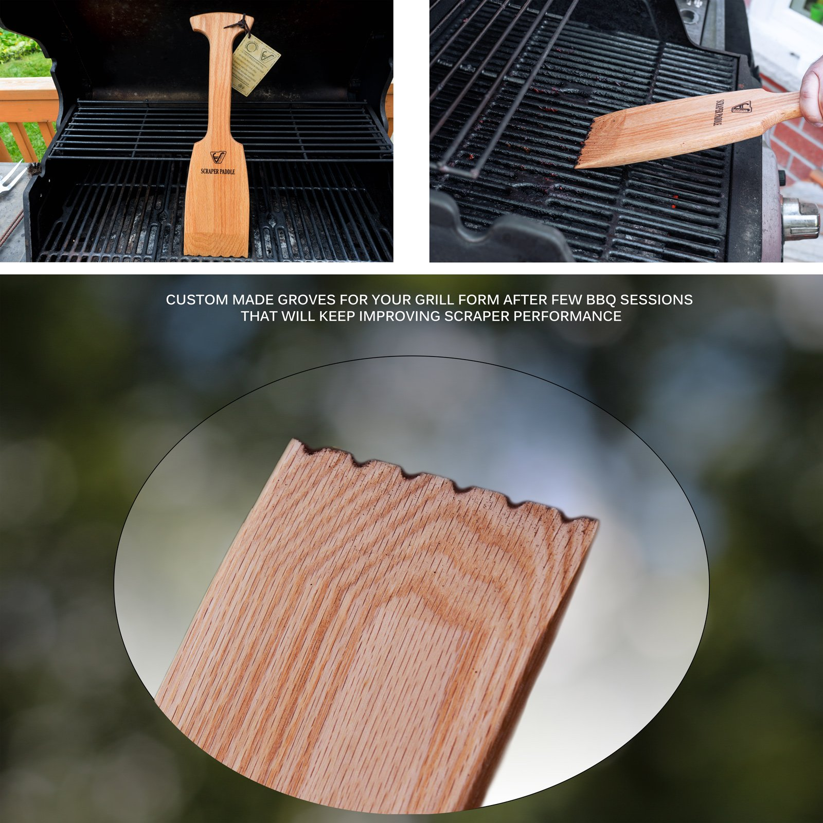 Velesco BBQ Wooden Grill Scraper Cleaner, American Red Oak Wood - Charcoal and Gas - Cleans top and between barbecue grates. Oil & clean grate. Sustainable and safe replacement for wire bristle brush by Velesco (Image #2)