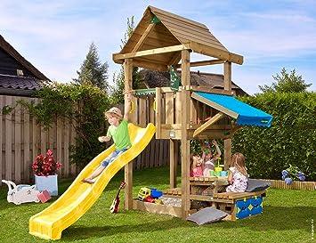 Jungle Gym House Mini Picnic 120 Amarillo Parques Infantiles de Madera para Jardin con Tobogan: Amazon.es: Juguetes y juegos
