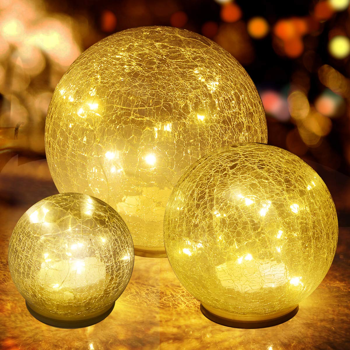 Glass Ball LED Light Christmas Wireless Crackle Glass Light Warm White Night Lamp for Bedroom Living-Room Dresser Nursery Kitchen Garden Restaurant Modern Glass Decoration Glass Craft 3 Pack