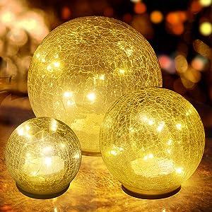 Glass Ball LED Light Christmas Wireless Crackle Glass Light Warm White Night Lamp for Bedroom Living-Room Dresser Nursery Kitchen Garden Restaurant Modern Glass Decoration Glass Craft (3 Pack)