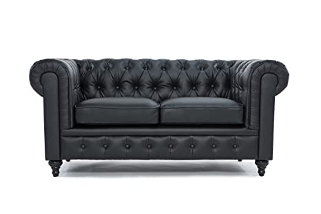 Divano Roma Furniture Classic Scroll Arm Tufted Bonded ...