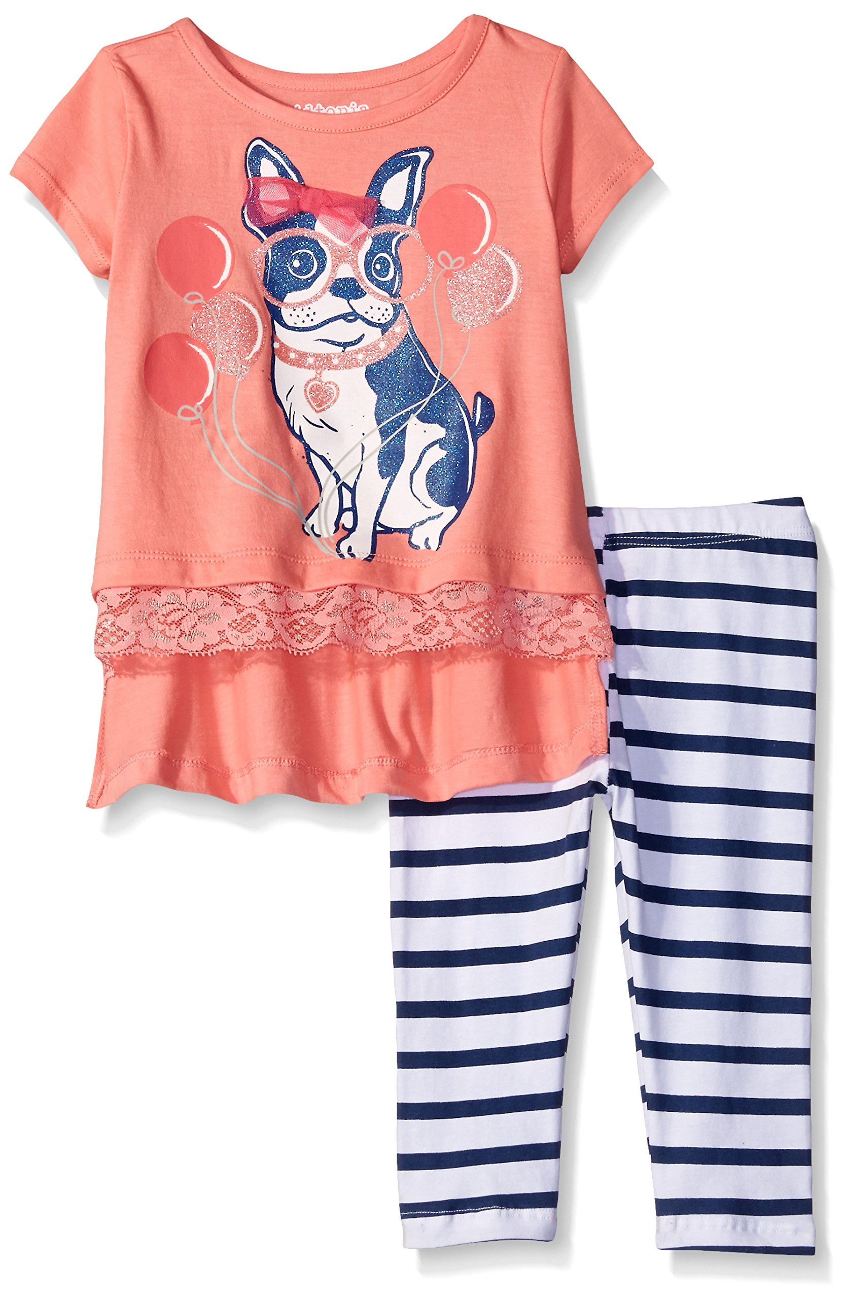Kidtopia Little Girls' Toddler Dog with Glasses and Cluney Lace with Striped Legging Tunic Set, Conch Shell, 3T
