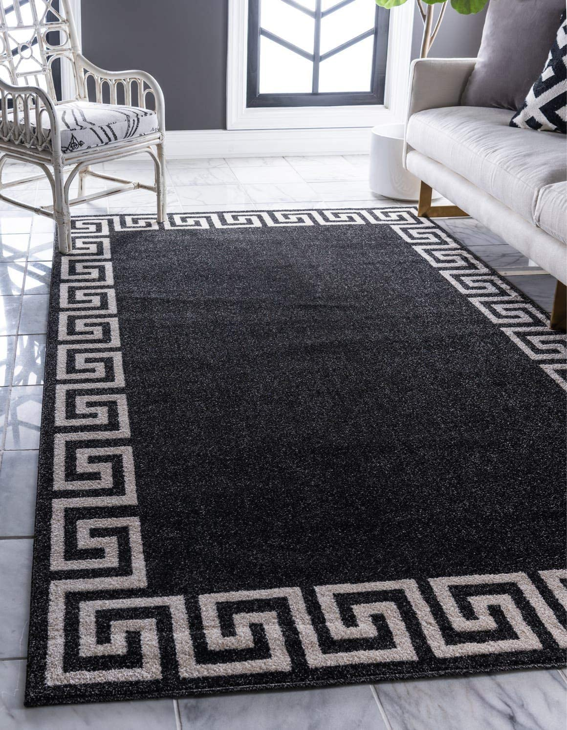 Unique Loom Athens Collection Geometric Casual Modern Border Charcoal Area Rug 5 0 x 8 0
