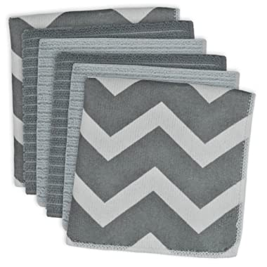 DII Microfiber Multi-Purpose Cleaning Cloths Perfect for Kitchens, Dishes, Car, Dusting, Drying Rags, 12 x 12, Set of 6 - Gray Chevron