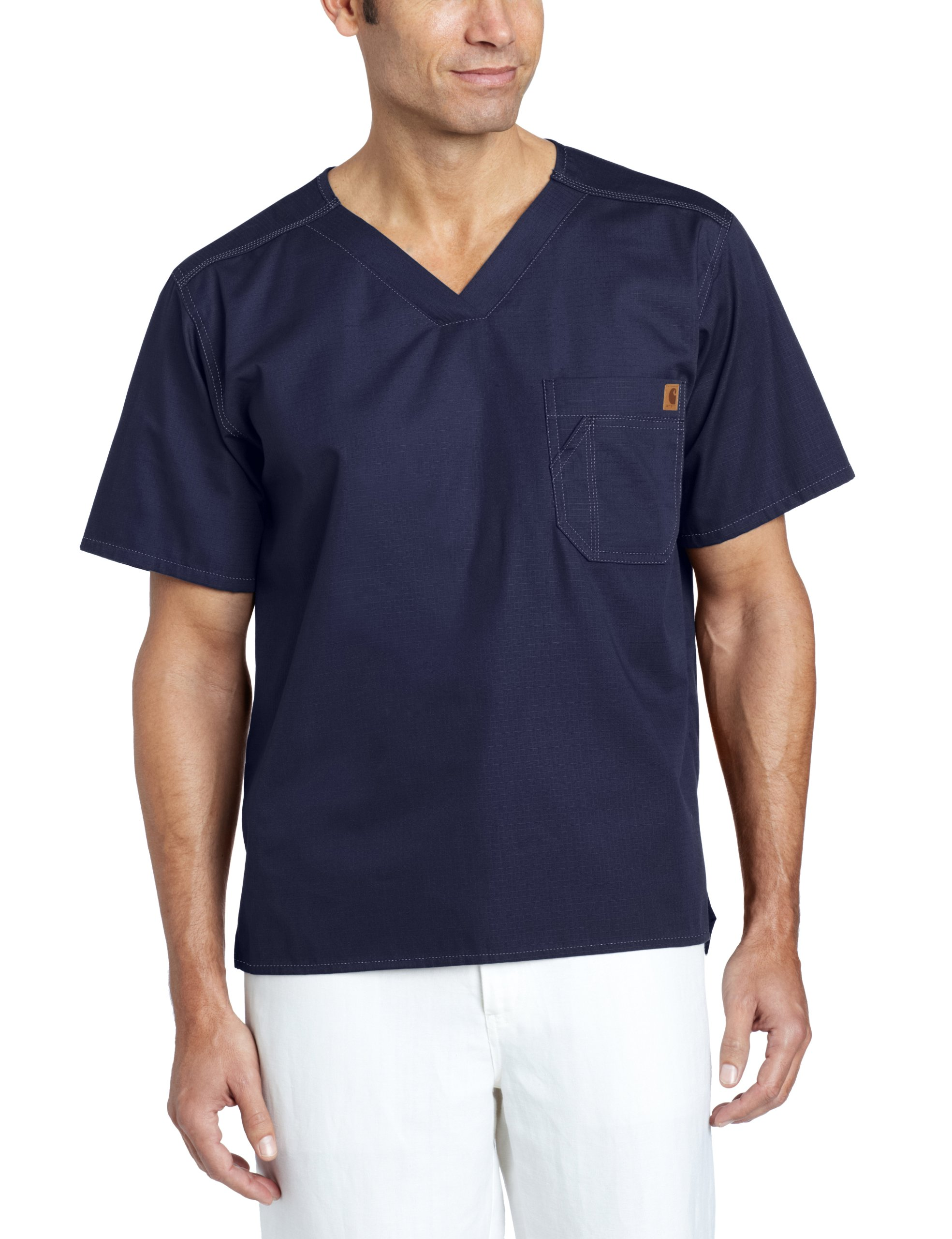 Carhartt Men's Solid Ripstop Utility Scrub Top, Navy, X-Large by Carhartt (Image #1)