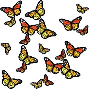 20pcs Monarch Butterfly Iron on Patches, 2 Size Embroidered Sew Applique Repair Patch