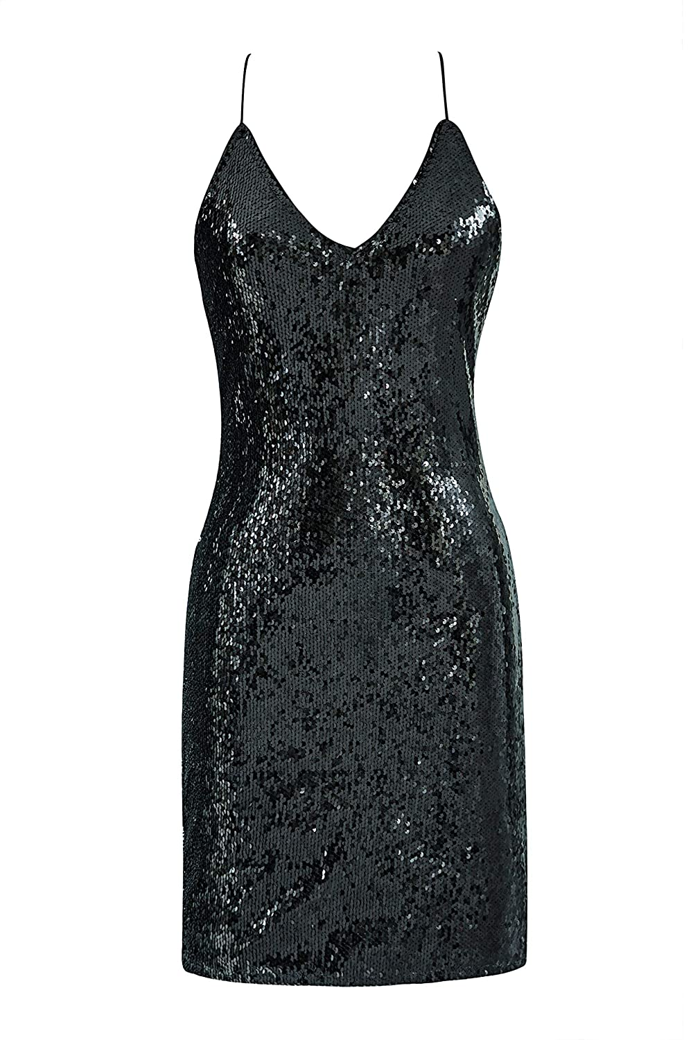 Vintage Cocktail Dresses, Party Dresses Metme Sexy Gradient Sparkling Sequins Dress Halter Neck Strap Sleeveless Backless V Neck Club wear Body-con Party Mini Dress $32.99 AT vintagedancer.com
