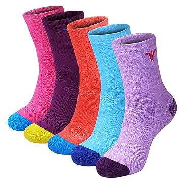 Calcetines de Senderismo para Mujer de 5 Pares, Calcetines de Rendimiento múltiple de Espesor Completo