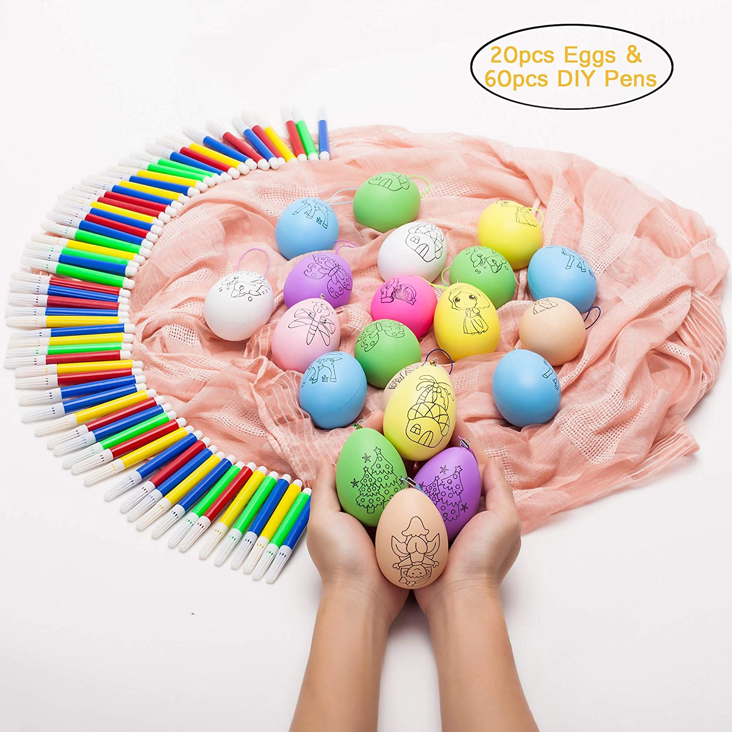Easter Eggs - 20-Pack of Decorative Painting Kit with 60pcs Water Color DIY Pens Hanging Easter Eggs for DIY Crafts and Assorted Easter Ornaments, Multicolor, 3.15 x 1.78 x 1.78 Inches