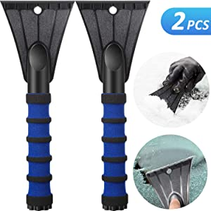 Mudder Ice Scraper CarSnow Ice Scraper Plastic Frost Ice Scraper Car Snow Removal Shovel Tool with Foam Grip for Car Windshield Home Window (2 Pieces)